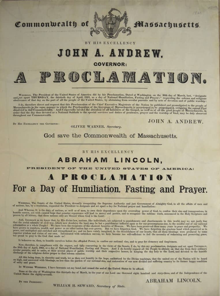 Abraham Lincoln's Call to prayer and fasting